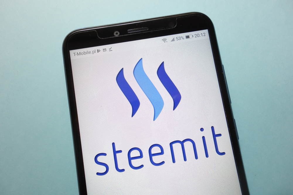 Smartphone with Steemit Logo